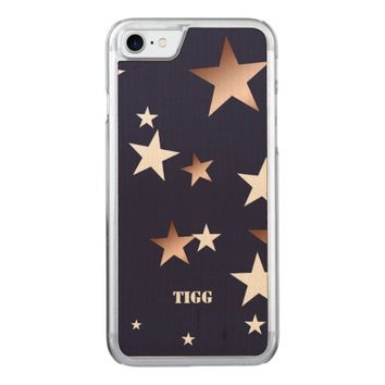 White Copper Stars Navy Blue Carved iPhone 7 Case