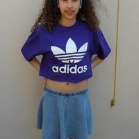 diy cropped adidas  t shirt  90's grunge  size medium from mysticclothing