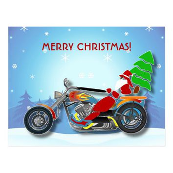 Christmas Santa Riding Chopper Bike With Red Hat Postcard