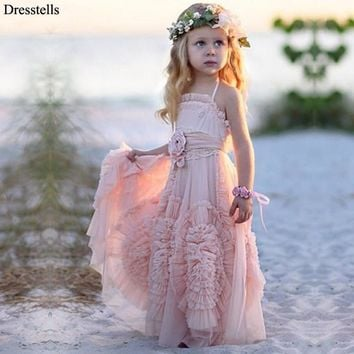 Dresstells Cute Pink Halter Sleeveless Handmade Flowers A-line Tulle Flower Girl Dress For Beach Wedding Party kids prom dresse