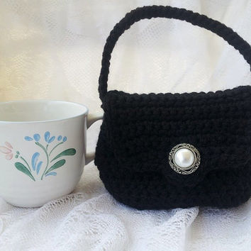 Small Black Purse, Black Crocheted Purse, Gift Ideas, Mini Me Purse, Gift Bag