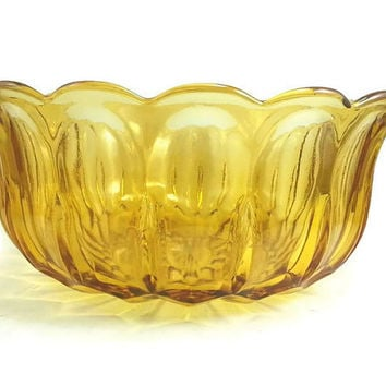 Vintage Large Amber Gold Glass Bowl, Anchor Hocking Glass Fairfield, Salad Fruit Bowl, Serving Dish, Holiday Party, Punch Bowl