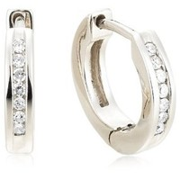 "Sterling Silver Channel-Set Diamond Hoop Earrings (1/10 cttw, I Color, I2-I3 Clarity) 0.4"" Diameter): Jewelry: Amazon.com"