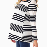 White Black Striped Colorblock Button Back Maternity Top