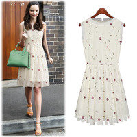 Cream Sleeveless Floral Embroidery Net Mesh Pleated Dress