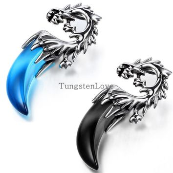 New 2015 Tribal Mens Stainless Steel Dragon Tooth Pendant Necklace Boys hip hop pendant colgantes hombre Blue & Black selection