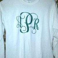 Long Sleeve Unisex Tee with heat pressed monogram