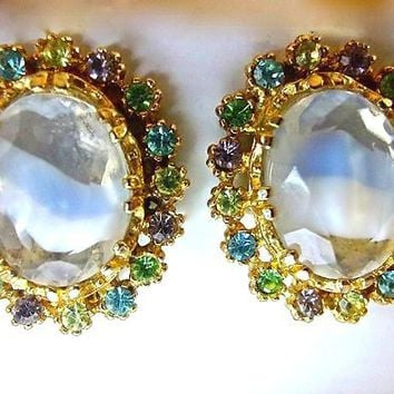 Signed ART Givre Earrings Ice Blue Glass, Pastel Rhinestones, Vintage