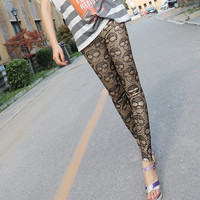 Aoki Fashion - Fashion Skull Printed Fine Quality Slim Leggings Black