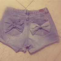 high waisted bow shorts