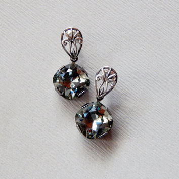 Black diamond grey Swarovski crystal dangle sterling silver 925 earrings Swarovski crystal dangling earrings