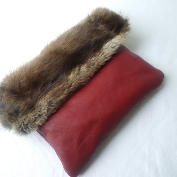 fur and leather clutch bag,burgundy leather, recycled, fur clutch, leather clutch, envelope foldover clutch,leather pouch,viking fur pouch
