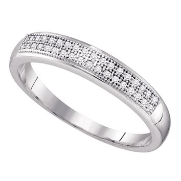 10k White Gold Round Pave-set Diamond Womens Bridal Wedding Anniversary Band 1/10 Cttw