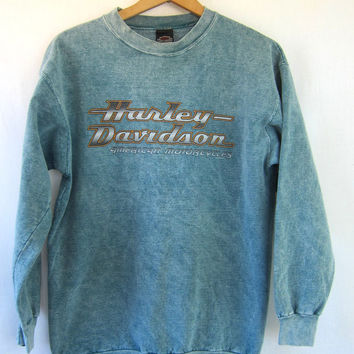 20% OFF SALE Vintage Harley Davidson sweatshirt. blue green pigment dyed Motorcycle sweater Worn in grunge Moto 90s Iowa. Medium