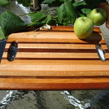 Handmade Medium Wood Cutting Board with Handles - Cherry & Black Walnut