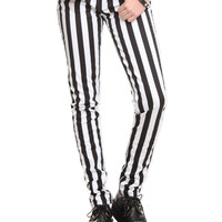 Royal Bones Black & White Stripe Skinny Pants