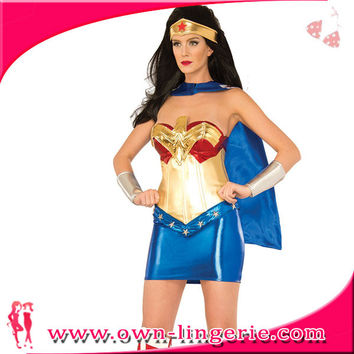 Sexy new hot selling superman costume for women,supergirls fancy dress with cloak