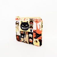 Cat Pouch, Fabric Pouch, Zipper Pouch, Flat Pouch, Halloween Pouch, Coin Purse, Spooky Cats Pouch, Pouch, Change Purse, Small Pouch, Case