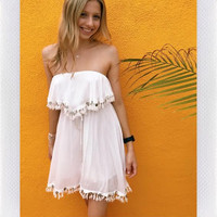 OCEAN LILY STRAPLESS COIN DRESS- WHT