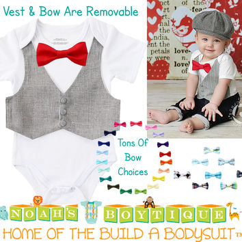 Baby Boy Clothes - Grey Pinstripe Vest and Bow Tie Outfit - Baby Wedding Outfit - Baby Shower Gift - Cake Smash - First Birthday - Baby Suit