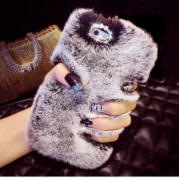 Top Quality Real Rabbit Fur Phone Case Cover For Iphone 6 6S Plus 5 5S 5C 4 Samsung Galaxy Note 5 4 3 2 S7 S6 Edge Plus S5 S4 S3