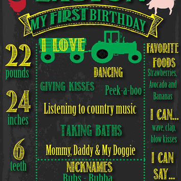 Tractor First Birthday // Tractor Birthday // Tractor Party // Chalkboard Poster // Yellow and Green