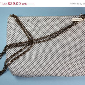 White Mesh Handbag Whiting and Davis Shoulder Handbag Purse