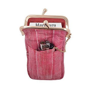 Waterproof Genuine Eel Skin Cigarette Case and Lighter Holder