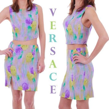 Gianni Versace Couture Silk Outfit 90s Vintage Crop Top High Waisted Mini Skirt Lavender Rare Authentic Made in Italy Women Size XS / Small