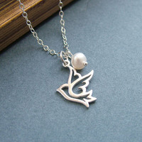 Dove Pendant Necklace, Sterling Silver and Freshwater Pearl, Bird Necklace, Peace Dove Necklace