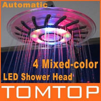 4 Mixed-color LED Shower Head Bathroom Sprinkler Romantic Automatic Control Ducha Rain Showers Heads Base Power Douche Set = 1696961668