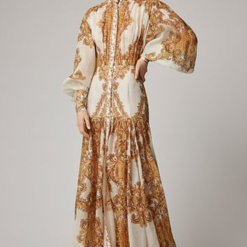 Queen Cream Yellow Paisley Puff Sleeve Maxi Dress