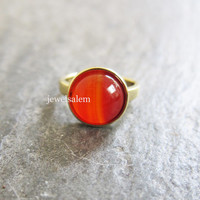 Orange Ring Carnelian Coral Gold Ring Gemstone Modern Gem Stone Ring Statement Ring Adjustable Ring