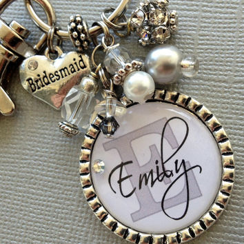 Bridesmaid Gift SET of 4, Wedding Party, Thank you gift - Wedding jewelry, heart bridesmaid charm, maid of honor charm keychain, purse clip