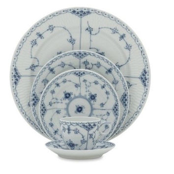 Blue Fluted Half Lace Dinnerware