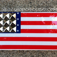 Studded iPhone 4/4s Case Red White Blue American Flag