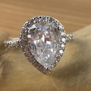 6 ct White Sapphire Pear Halo Engagement Ring