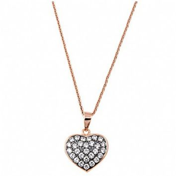 Cydney's Rose Gold and Black Plated Sterling Silver Cubic Zirconia Heart Necklace