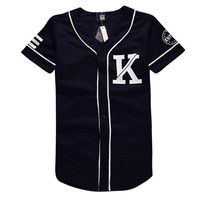 Mens baseball jerseys design black white patchwork t shirt 07 KNYEW print short sleeve man shirts casual hip hop tops tee
