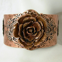 UNIQUE Copper Rose Cuff Bracelet-Hand formed, Hammered & Oxidized