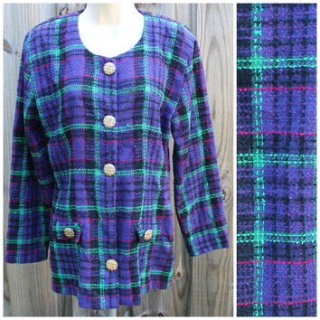 RAMPAGE 80s Oversized Blazer Jacket Coat Slouchy Plaid Flannel Wool Blend Boho Rocker Grunge Indie New Age Medium