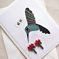 handmade iris fold greeting card – with love