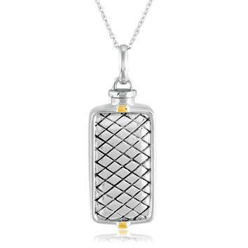 Rhodium & 14k Yellow Gold Plated Sterling Silver Ash Holder Necklace