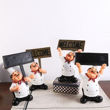 Home Kitchen Chef Ornament Figurine Statue Table Decor Restaurant Welcome Board Black Board