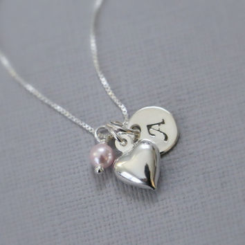 Swarovski Light Pink Pearl, Tiny Sterling Silver Heart Charm & Custom Initial Sterling Silver Necklace, Bridesmaid Necklace, Bridesmaid Gift