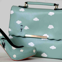 "Slim Turquoise hand painted ""Sky"" bag for women - limited edition"