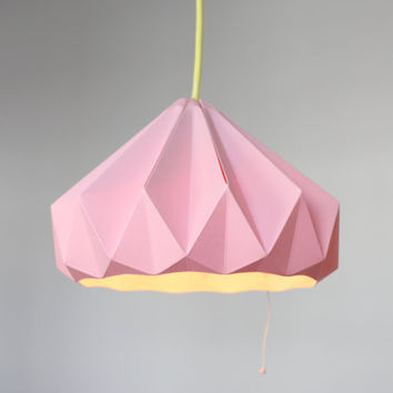 Chestnut paper origami lampshade pink by nellianna on Etsy