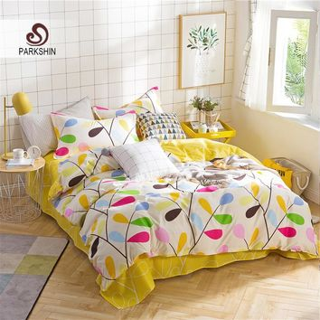 ParkShin Yellow Bedding Set Comforter Nordic Duvet Cover Bedspread Double Bed Sheet Set Linens Adult Twin Queen King Bedclothes