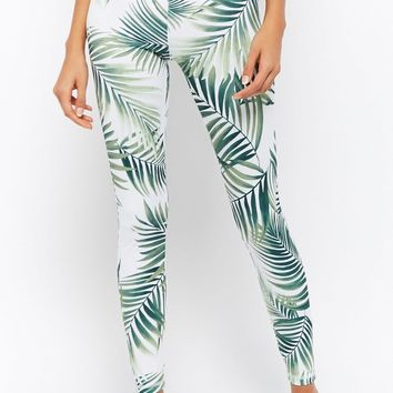 Active Palm Leaf Print Leggings