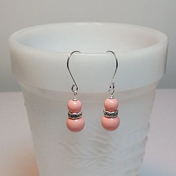 Swarovski Pink Coral and Rhinestone Drop Earrings, Bridesmaid Wedding Mothers Day Gift, Mom Sister Girlfriend Jewelry, Simple